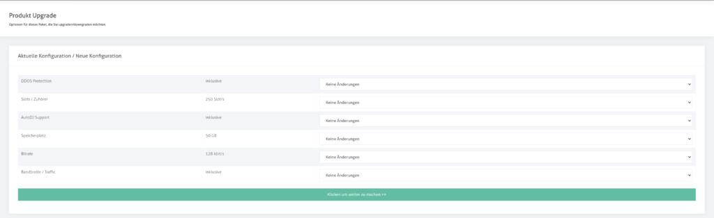 Cloud Streamserver upgrade/downgrade